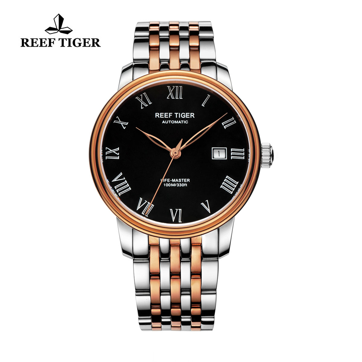Reef Tiger Life-Master Dress Watch Automatic Rose Gold/Steel Black Dial RGA812-PBT