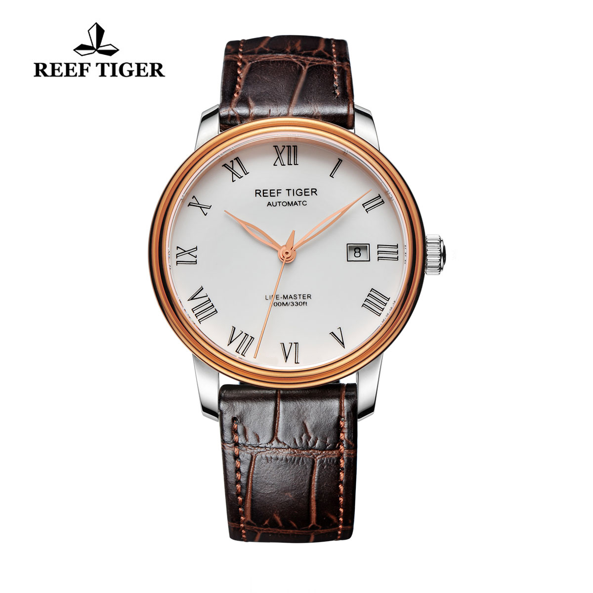 Reef Tiger Life-Master Business Watch Automatic Rose Gold/Steel White Dial RGA812-PWB