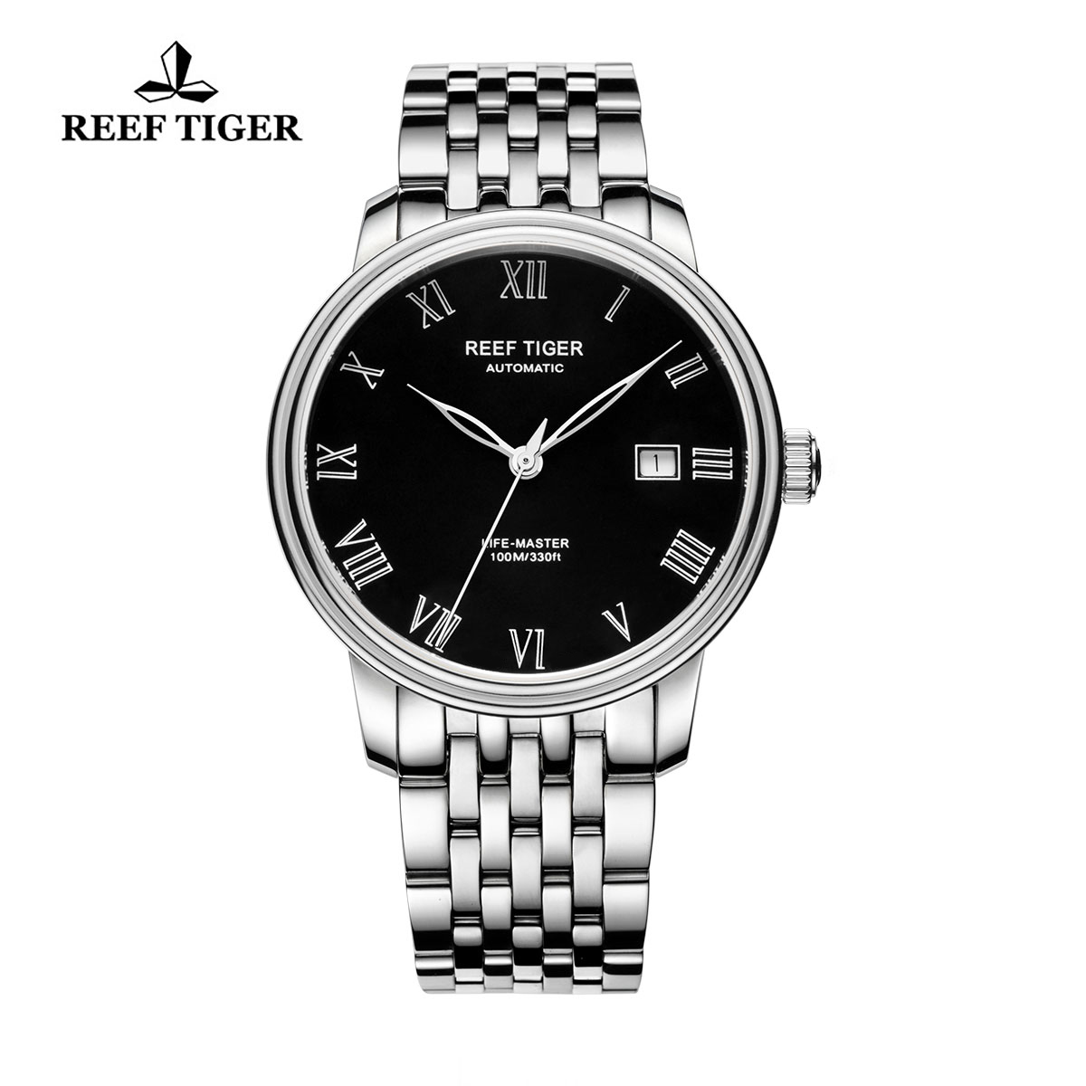 Reef Tiger Life-Master Dress Watch Automatic Full Steel with Black Dial RGA812-YBY