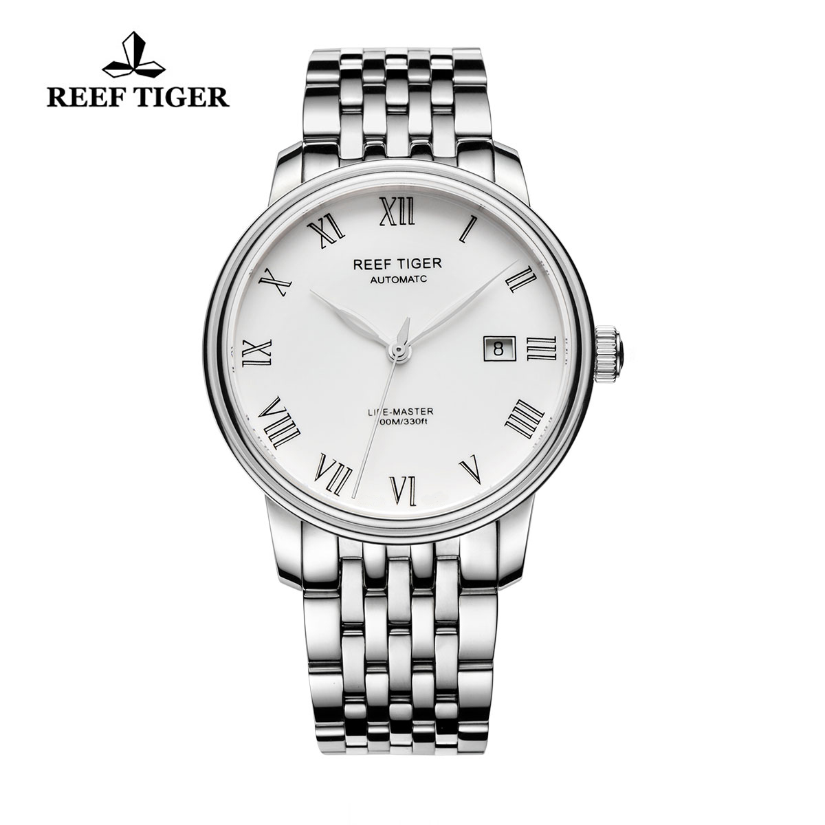 Reef Tiger Life-Master Dress Watch Automatic Full Steel with White Dial RGA812-YWY