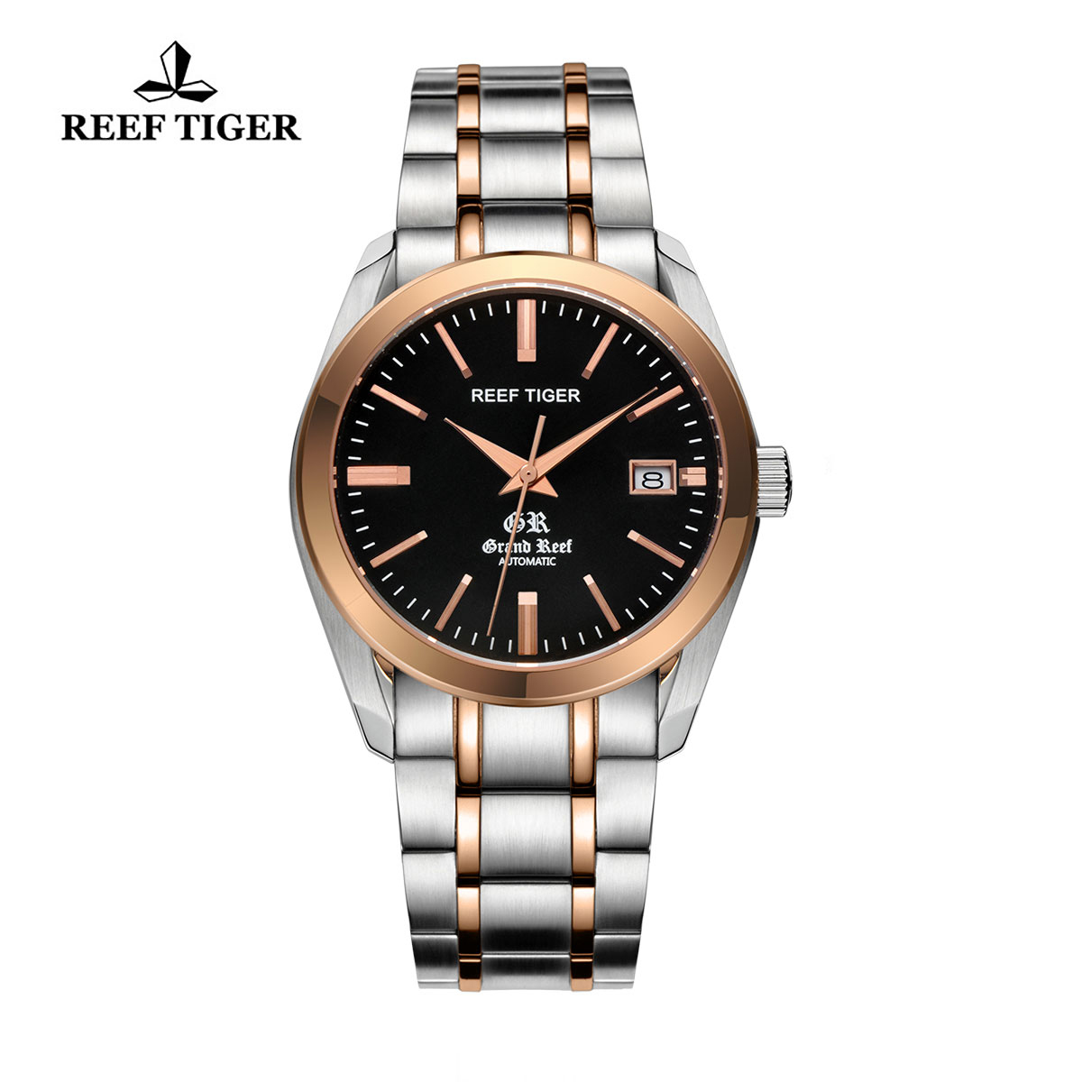 Reef Tiger Grand Reef Dress Watch with Date Black Dial Two Tone Watch RGA818-TBT