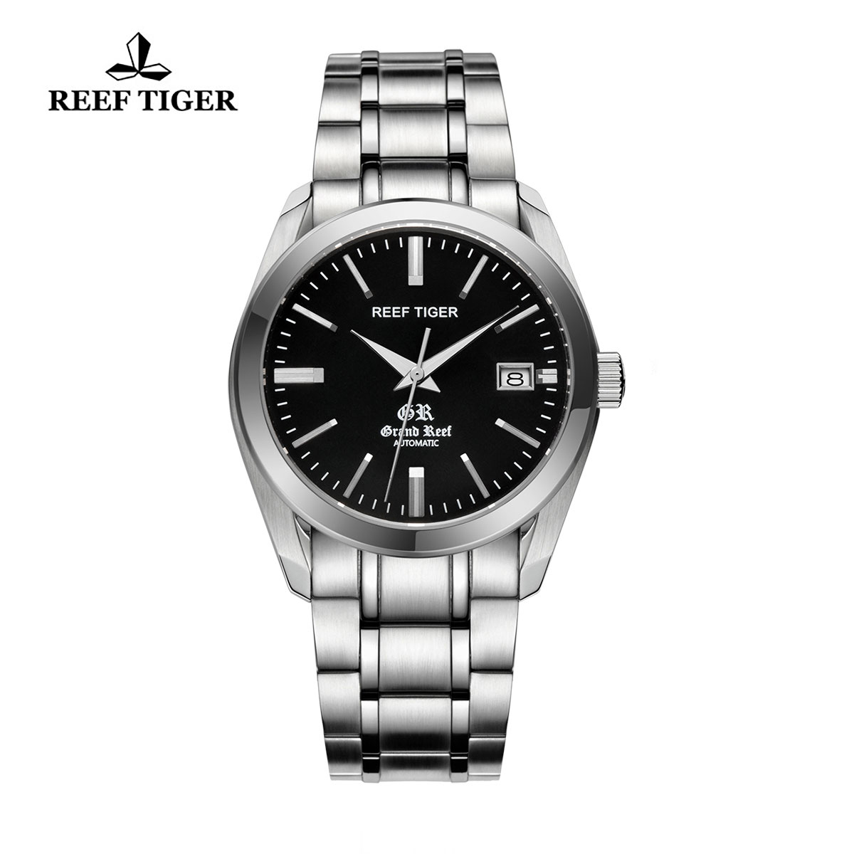 Reef Tiger Grand Reef Dress Watch with Date Black Dial Stainless Steel Watch RGA818-YBY