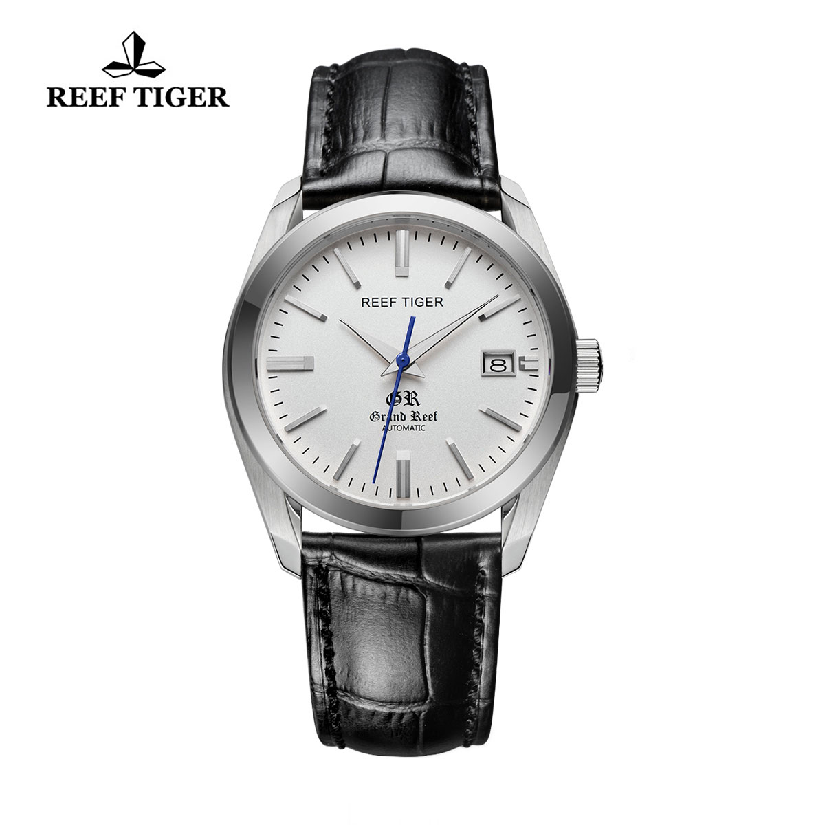 Reef Tiger Grand Reef Dress Watch with Date White Dial Calfskin Leather Steel Watch RGA818-YWB