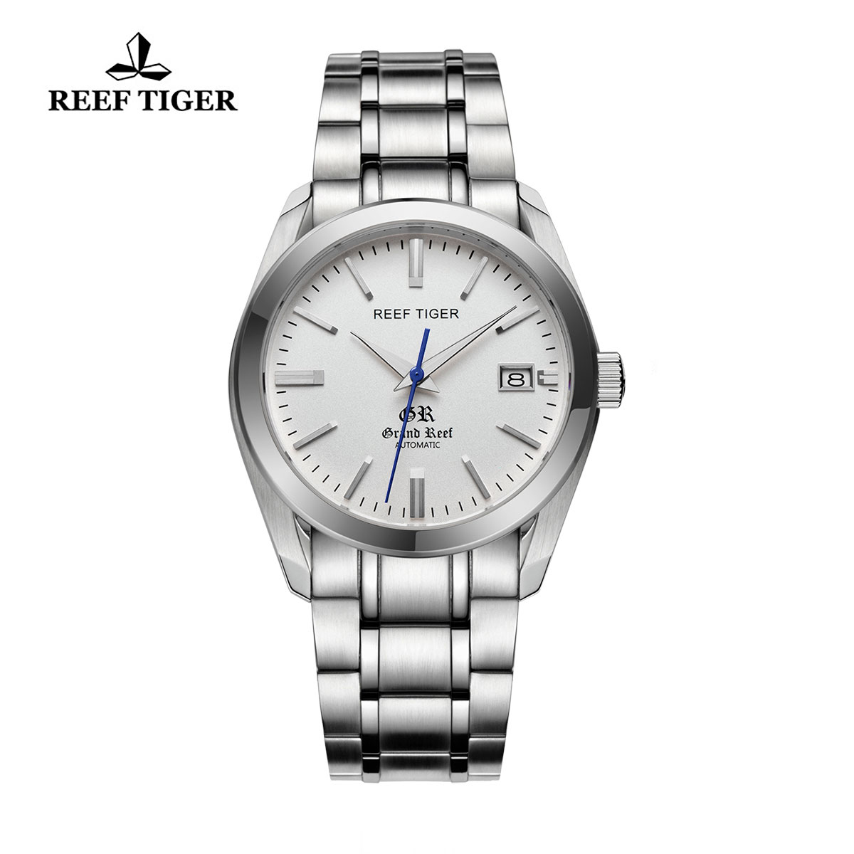 Reef Tiger Grand Reef Dress Watch with Date White Dial Stainless Steel Watch RGA818-YWY