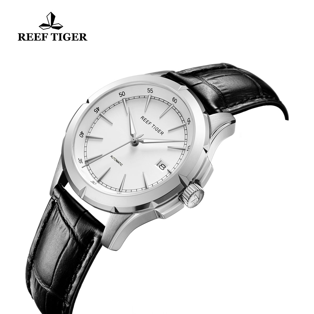 Reef Tiger Spirit Of Liberty Business Watch White Dial Black Calfskin Leather RGA819-YWBS
