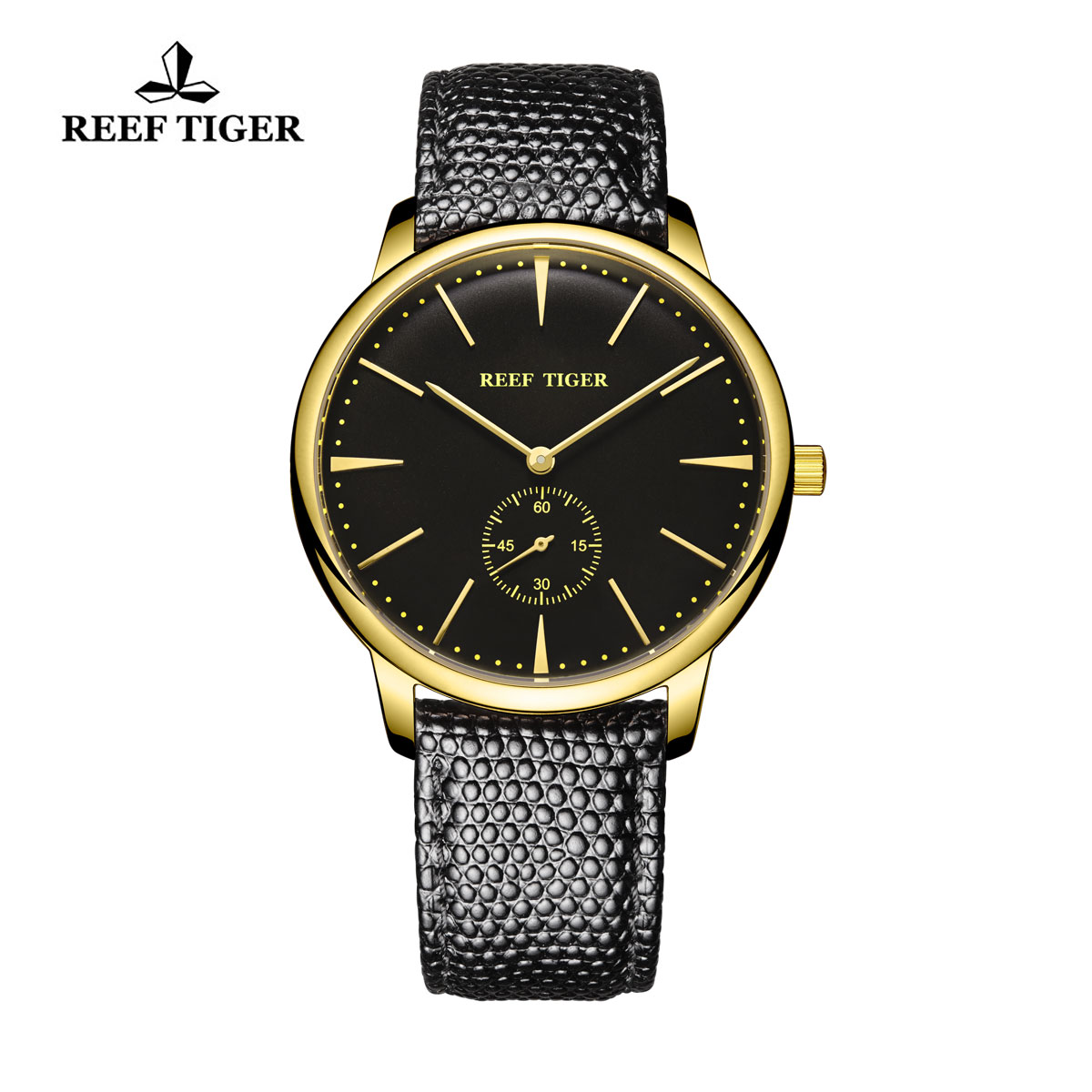 Reef Tiger Vintage Couple Watch Black Dial Yellow Gold Calfskin Leather RGA820-GBB