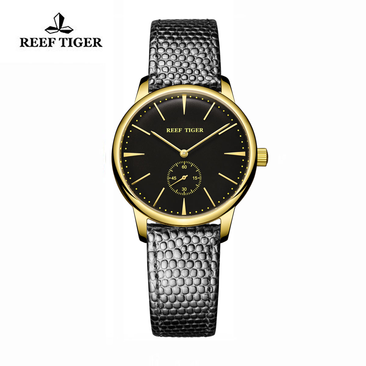 Reef Tiger Vintage Watch Black Dial Yellow Gold Calfskin Leather RGA820-GBB-L