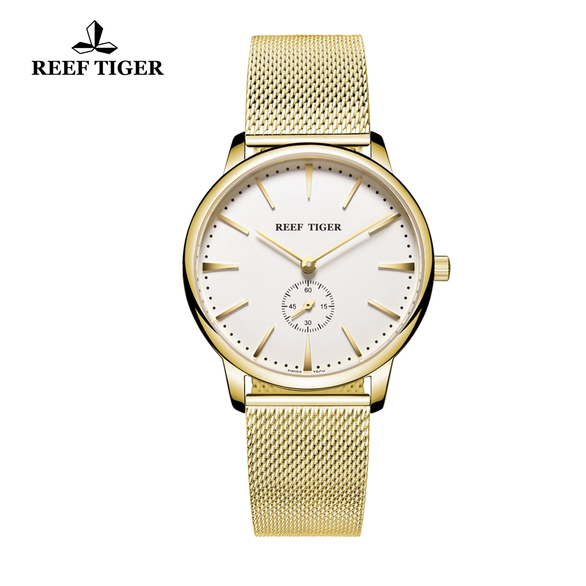 Reef Tiger Vintage Couple Watch White Dial Full Yellow Gold Mens Watches RGA820-MGWG