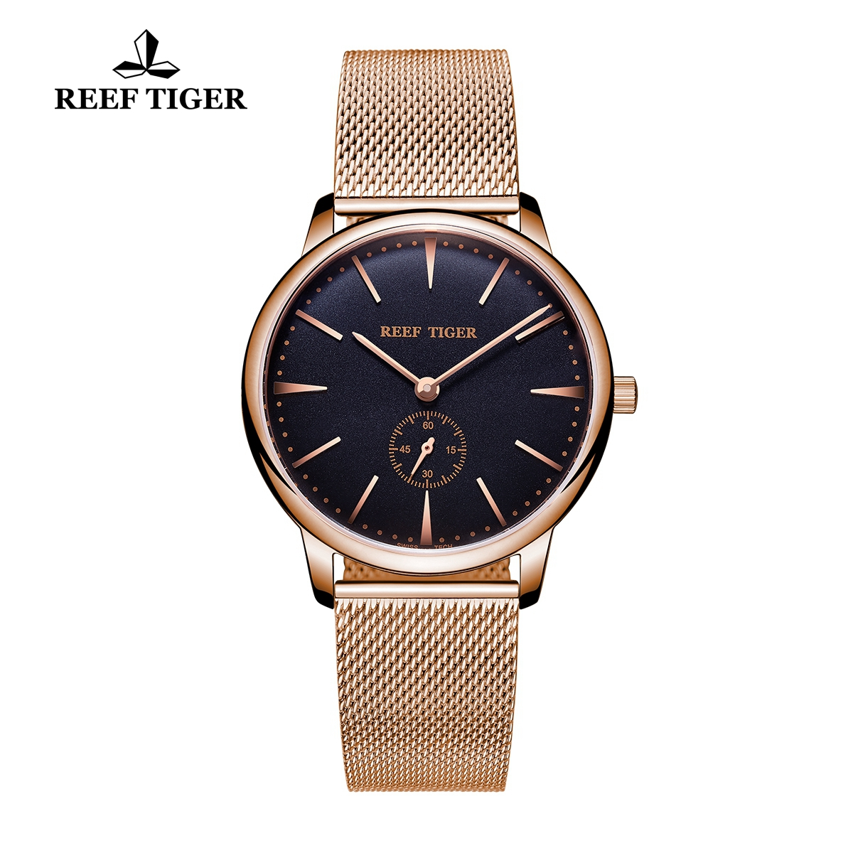 Reef Tiger Vintage Couple Watch Black Dial Full Rose Gold Mens Watches RGA820-MPBP
