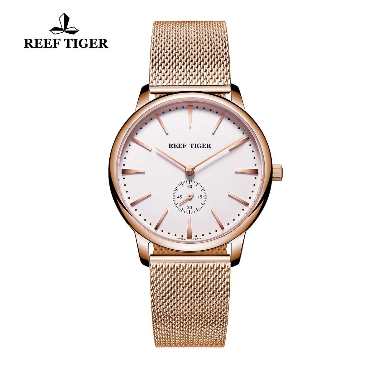 Reef Tiger Vintage Couple Watch White Dial Full Rose Gold Mens Watches RGA820-MPWP