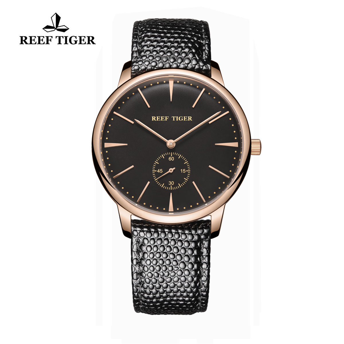 Reef Tiger Vintage Couple Watch Black Dial Rose Gold Calfskin Leather RGA820-PBB