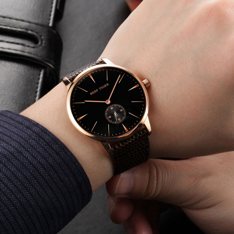 Reef Tiger Vintage Casual Watch Black Dial Rose Gold Calfskin Leather RGA820-PBB-G