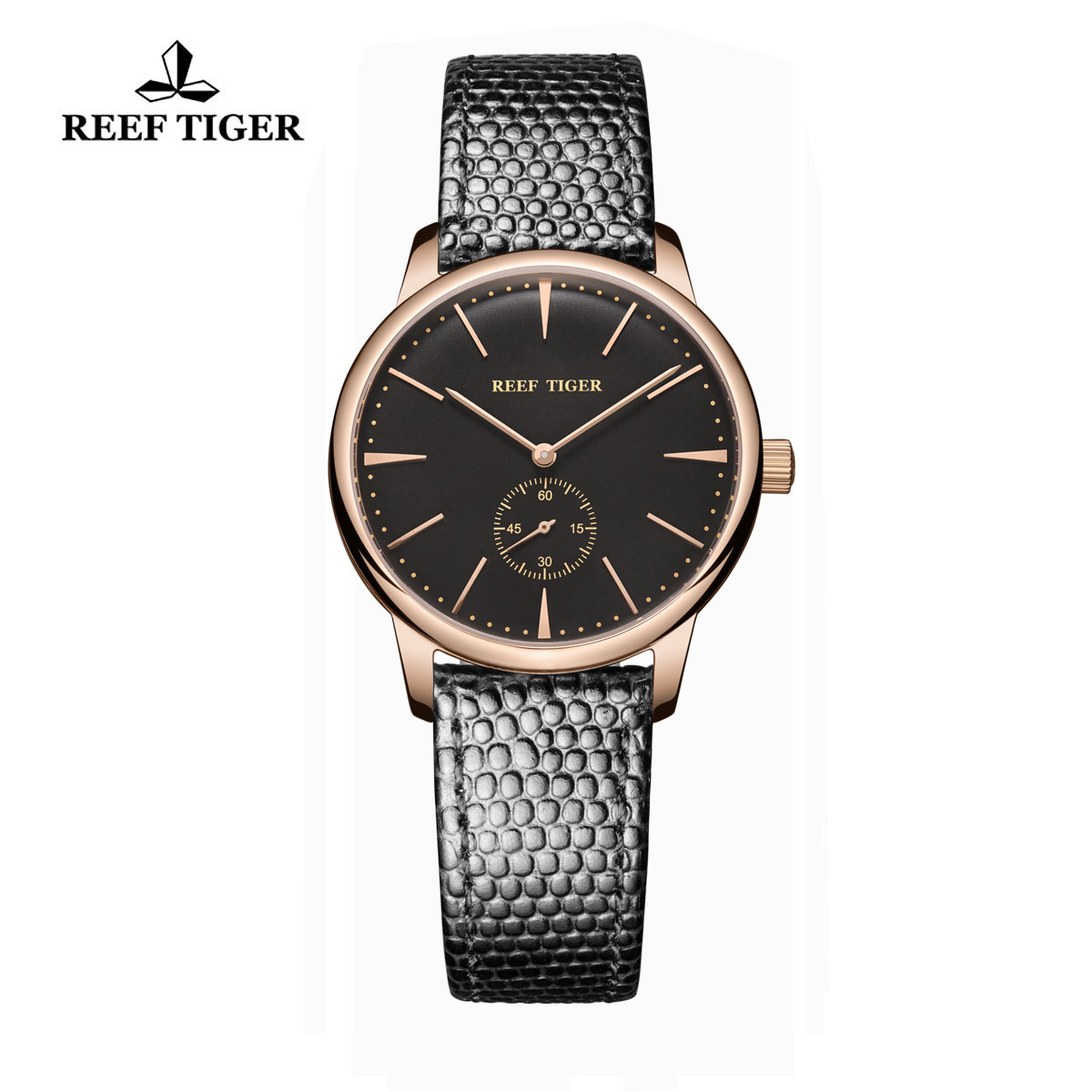 Reef Tiger Vintage Watch Black Dial Rose Gold Calfskin Leather RGA820-PBB-L