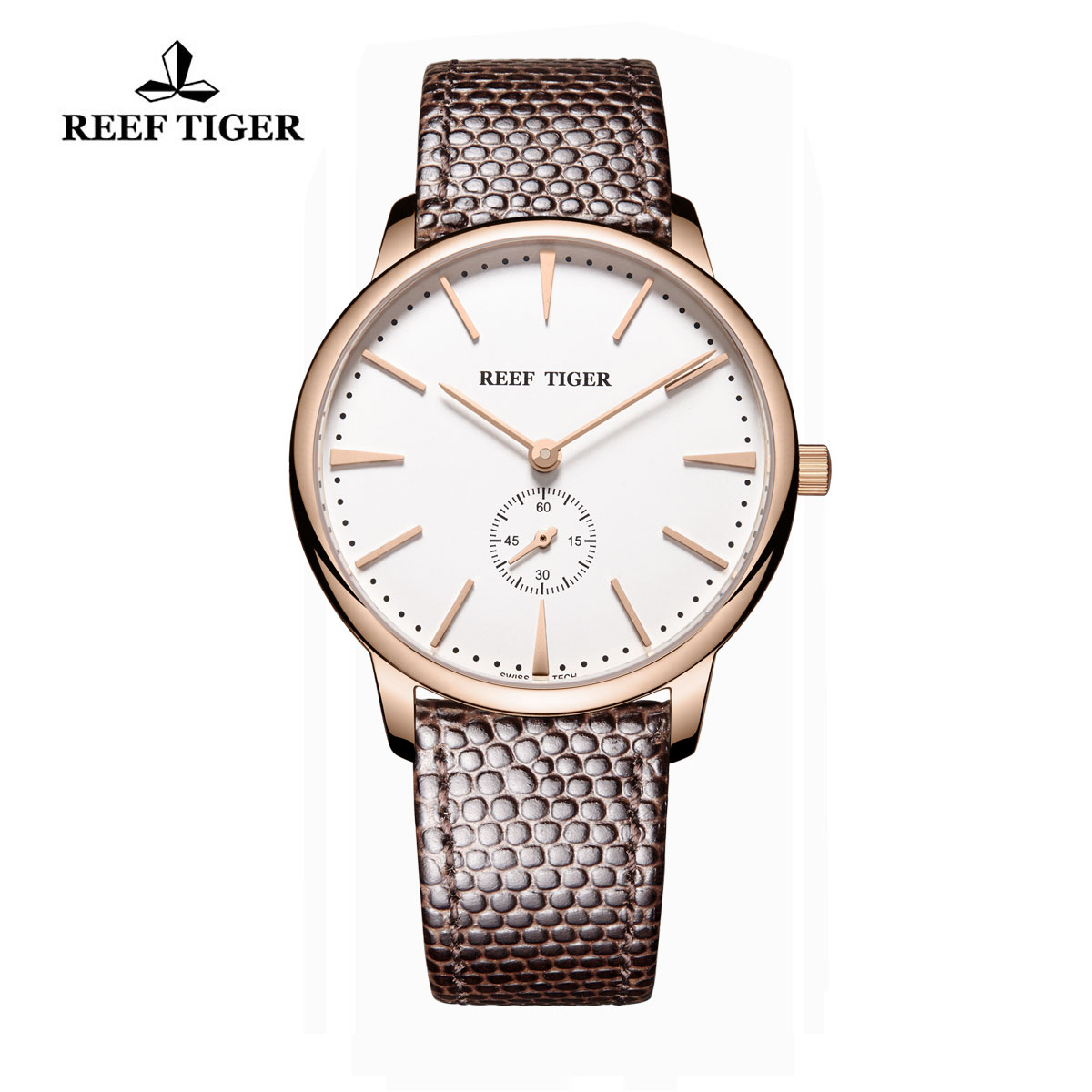 Reef Tiger Vintage Casual Watch White Dial Rose Gold Calfskin Leather RGA820-PWB-G