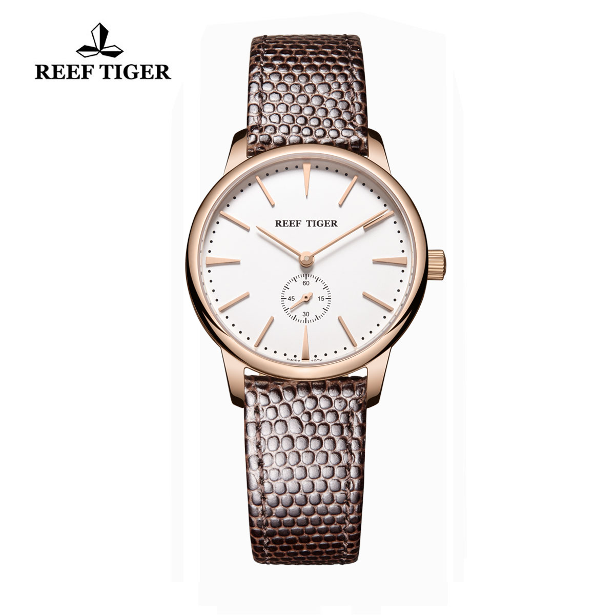 Reef Tiger Vintage Couple Watch White Dial Rose Gold Calfskin Leather RGA820-PWB