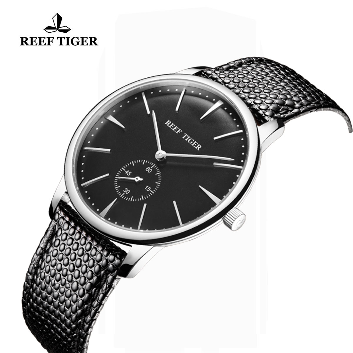 Reef Tiger Vintage Casual Watch Black Dial Stainless Steel Calfskin Leather RGA820-YBB-G