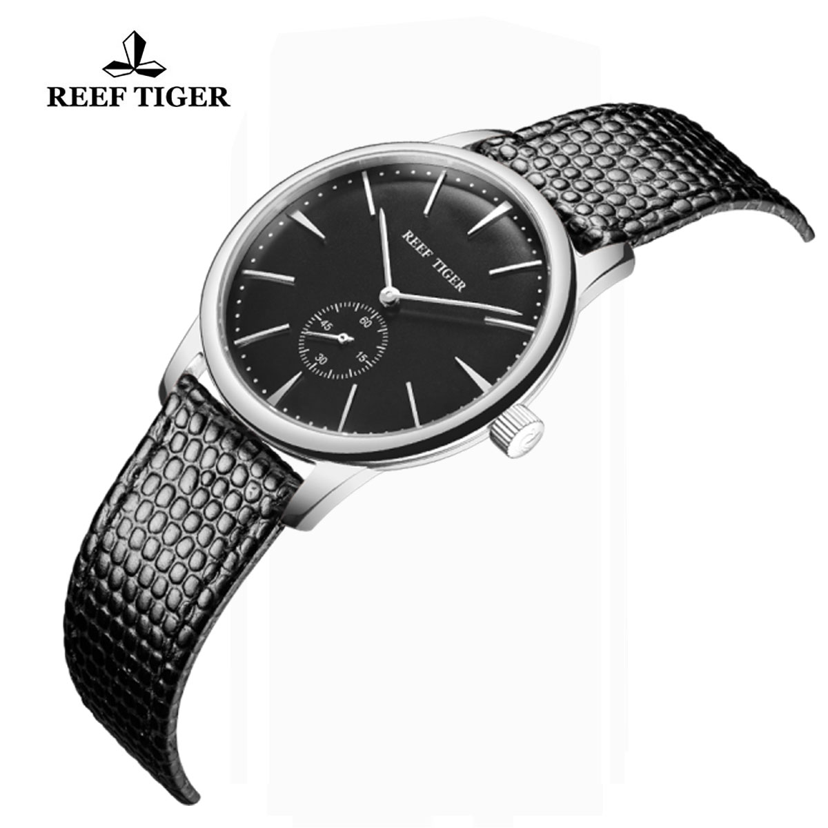 Reef Tiger Vintage Couple Watch Black Dial Stainless Steel Calfskin Leather RGA820-YBB
