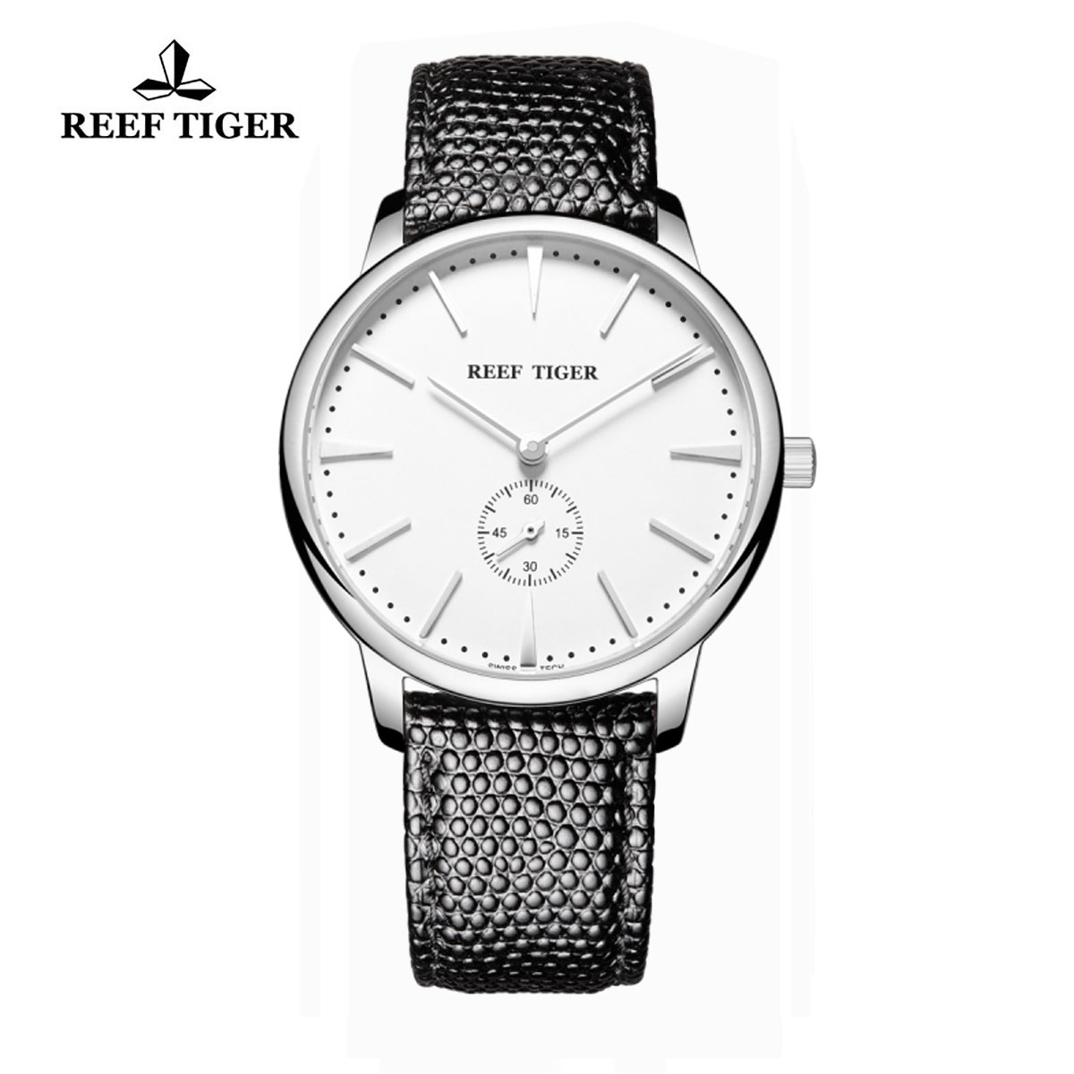 Reef Tiger Vintage Couple Watch White Dial Stainless Steel Calfskin Leather RGA820-YWB