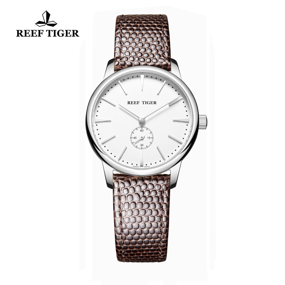 Reef Tiger Vintage Watch White Dial Stainless Steel Calfskin Leather RGA820-YWB-L