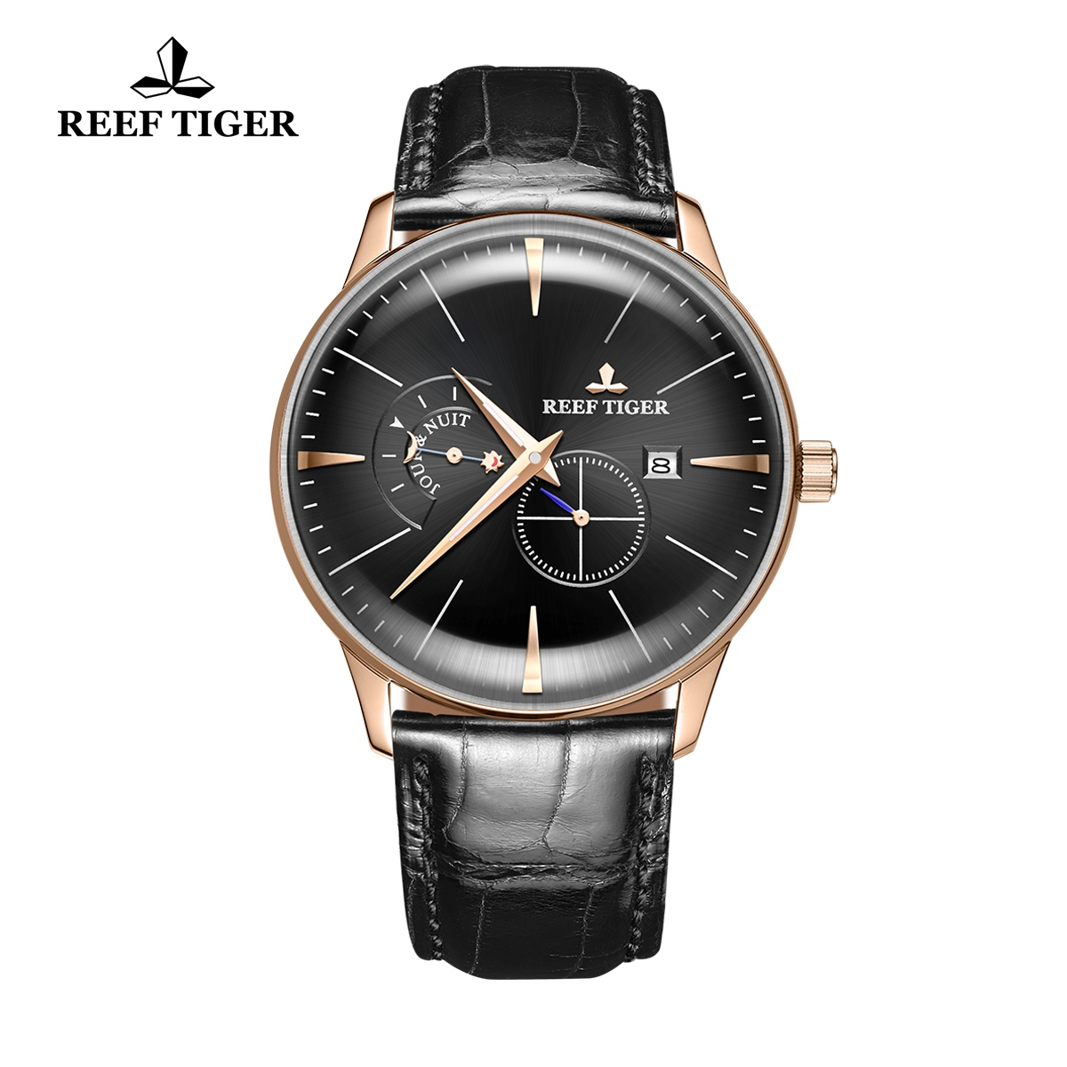 Reef Tiger Classic Artisan Men's Fashion Watch Black Dial Leather Strap Automatic Watches RGA8219-PBB
