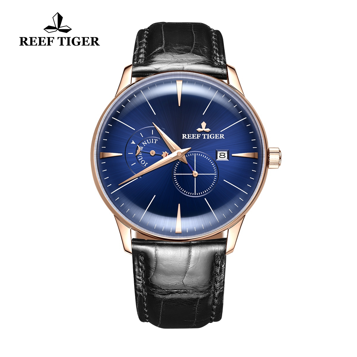 Reef Tiger Classic Artisan Men's Fashion Rose Gold Watch Blue Dial Leather Strap Automatic Watches RGA8219-PLB