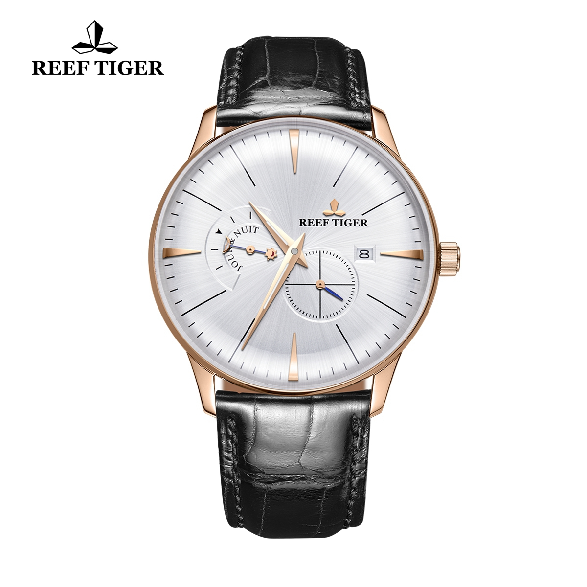 Reef Tiger Classic Artisan Men's Casual Watch White Dial Leather Strap Automatic Watches RGA8219-PWB