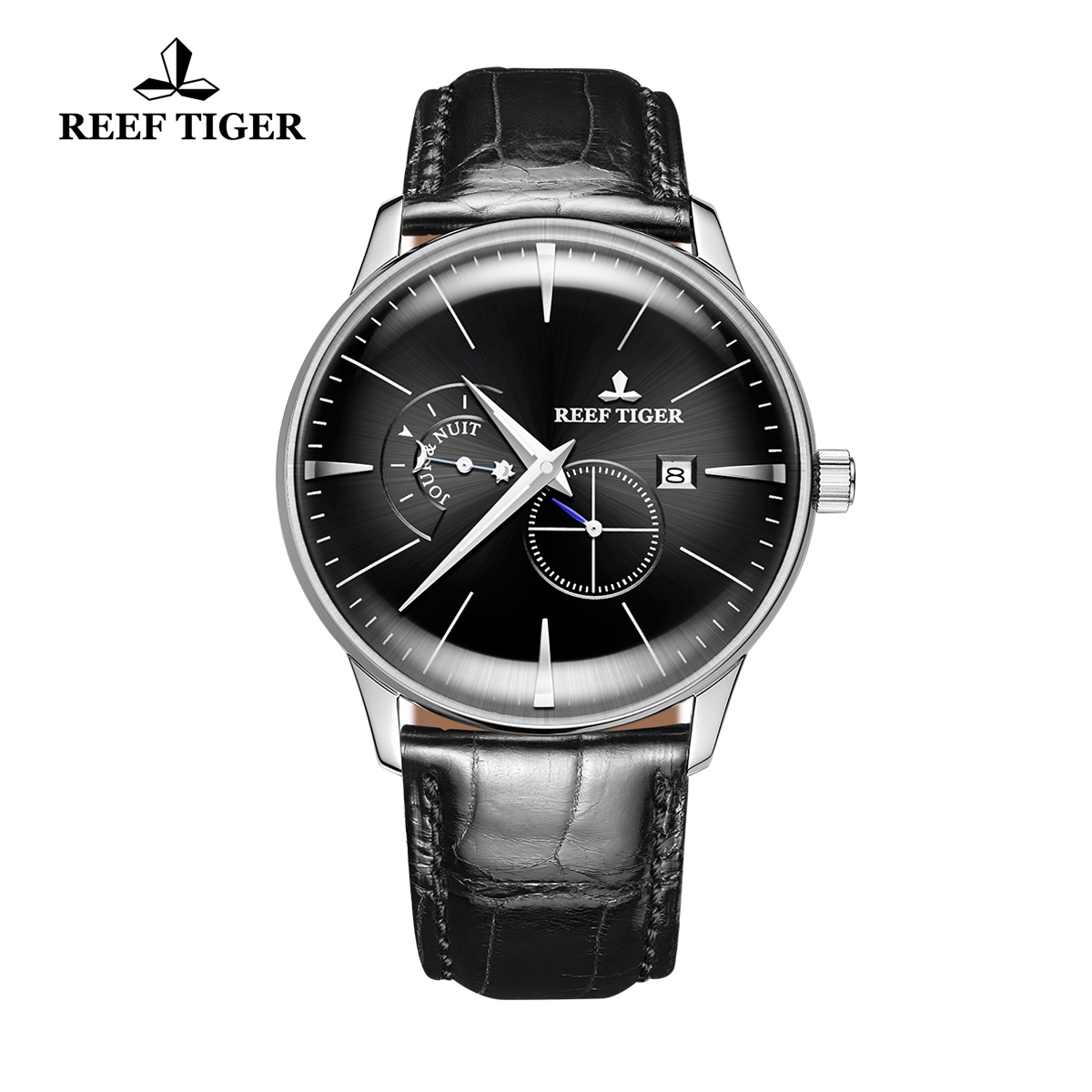Reef Tiger Classic Artisan Men's Steel Fashion Watch Black Dial Leather Strap Automatic Watches RGA8219-YBB