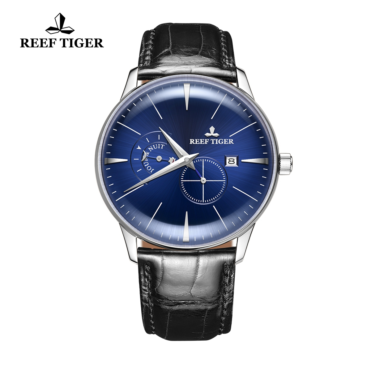 Reef Tiger Classic Artisan Men's Fashion Watch Blue Dial Leather Strap Automatic Watches RGA8219-YLB
