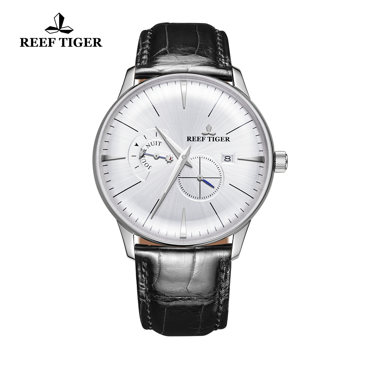 Reef Tiger Classic Artisan Men's Casual Watch White Dial Leather Strap Automatic Watches RGA8219-YWB