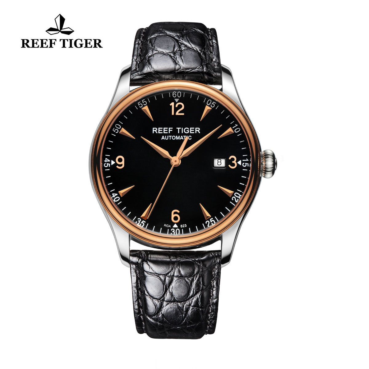 Reef Tiger Heritage Dress Automatic Watch Black Dial Alligator Strap RGA823-PBA