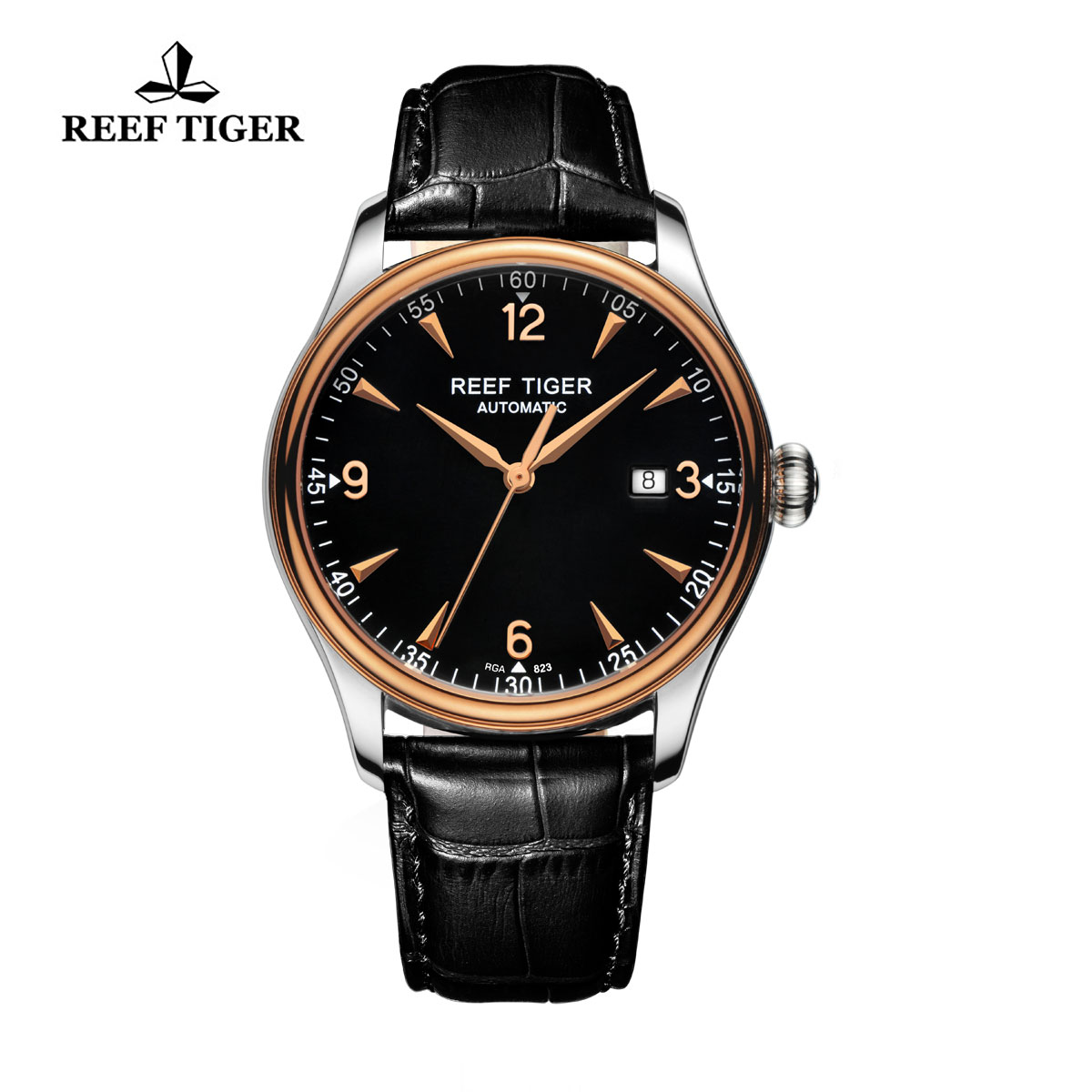 Reef Tiger Heritage Dress Automatic Watch Black Dial Calfskin Leather Strap RGA823-PBB