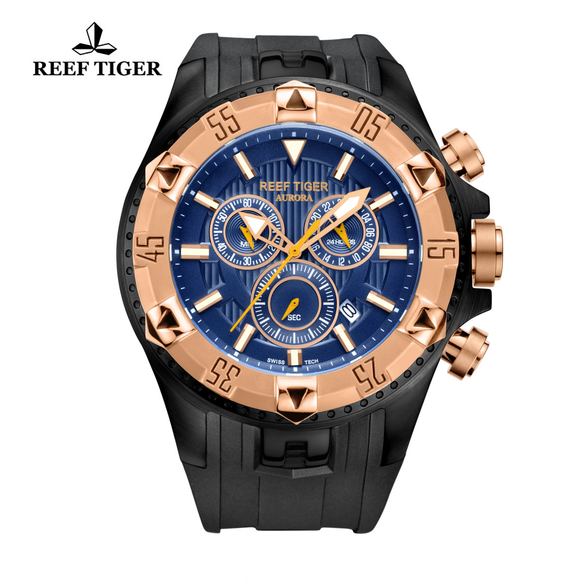 Reef Tiger Hercules Sport Watches Chronograph PVD Case Rose Gold Bezel Blue Dial Watch RGA303-PLB