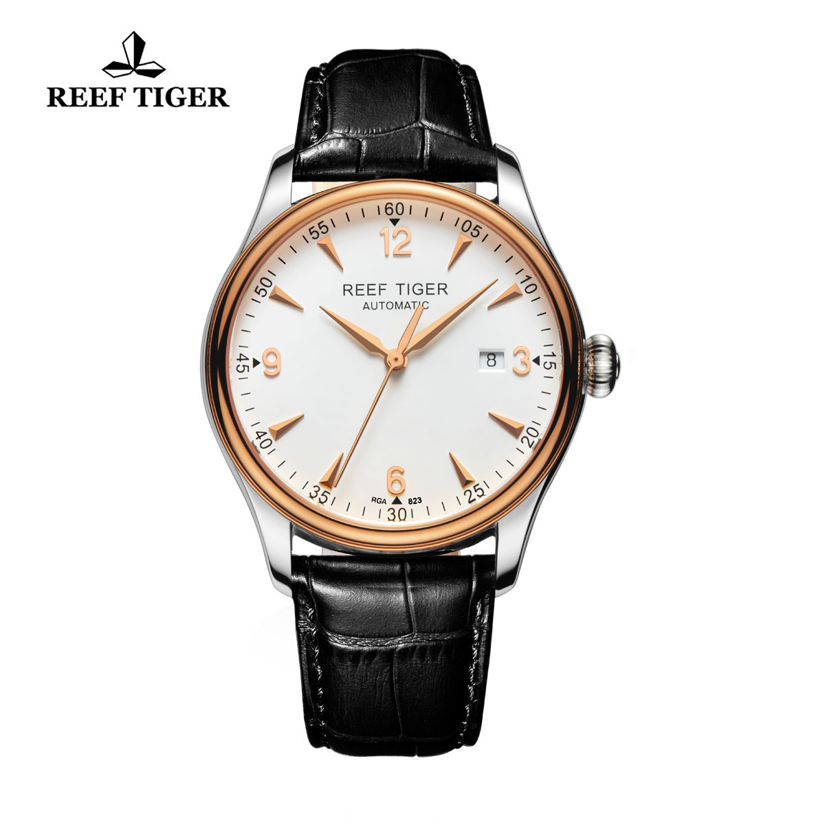 Reef Tiger Heritage Dress Automatic Watch White Dial Calfskin Leather Strap RGA823-PWB