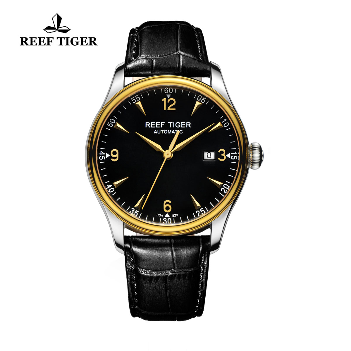 Reef Tiger Heritage Dress Watch Automatic Black Dial Calfskin Leather Strap RGA823-TBB