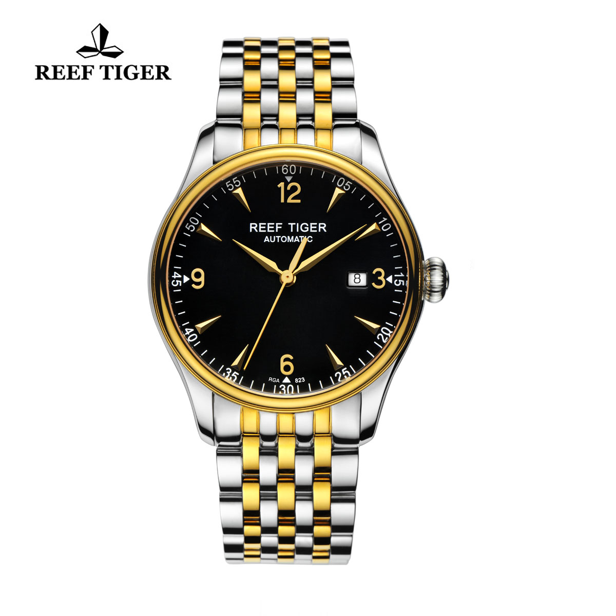 Reef Tiger Heritage Dress Automatic Watch Black Dial Yellow Gold/Steel Case RGA823-TBT