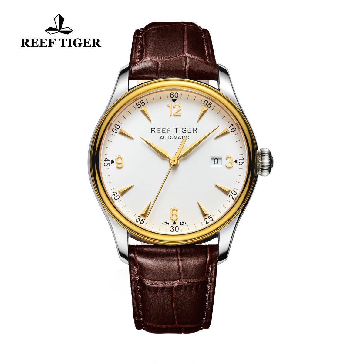 Reef Tiger Heritage Dress Watch Automatic White Dial Calfskin Leather Strap RGA823-TWB