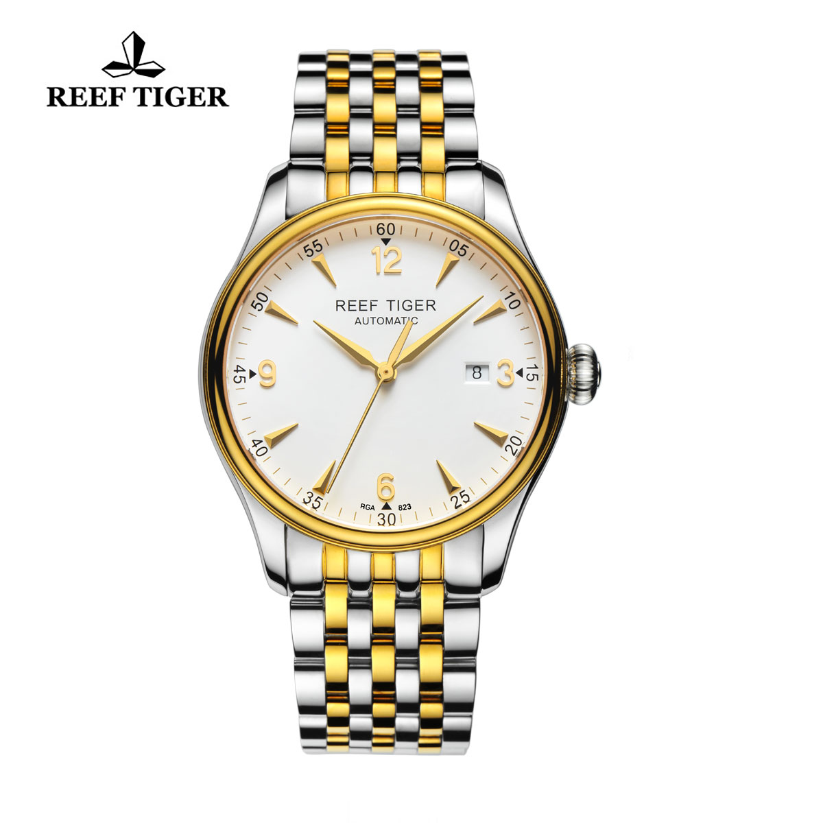 Reef Tiger Heritage Dress Automatic Watch White Dial Yellow Gold/Steel Case RGA823-TWT