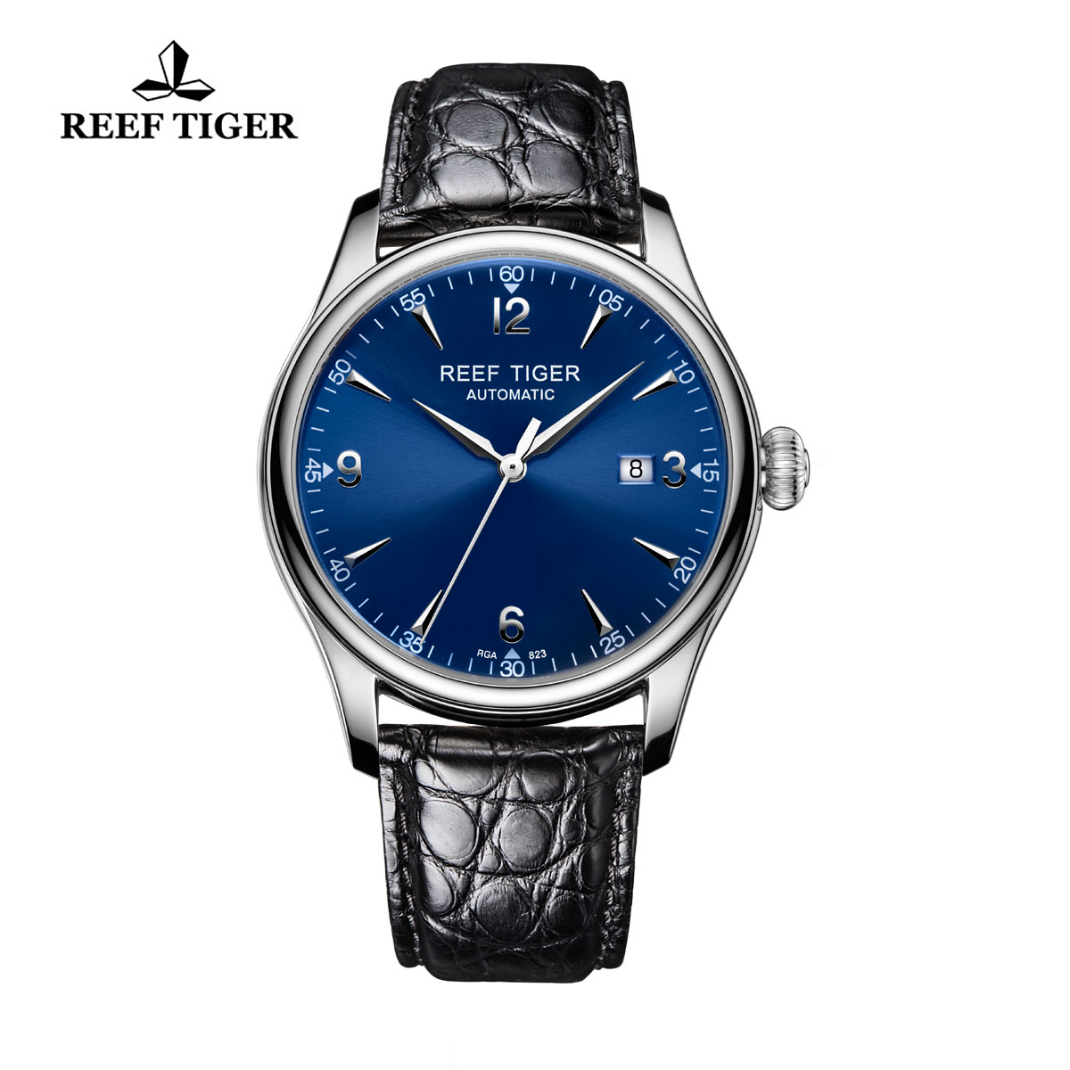 Reef Tiger Heritage Dress Automatic Watch Blue Dial Alligator Strap Steel Case RGA823-YLA
