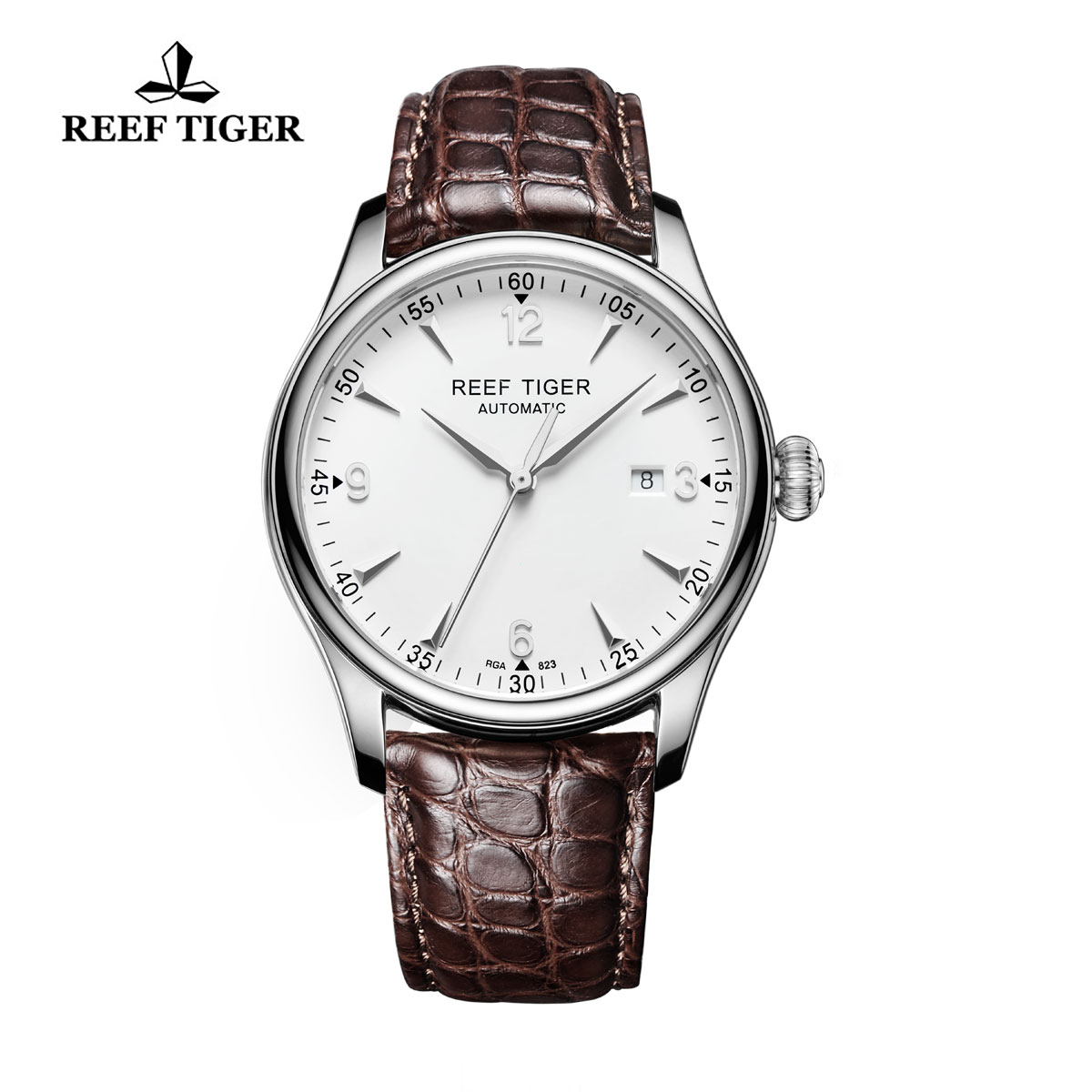 Reef Tiger Heritage Dress Automatic Watch White Dial Alligator Strap Steel Case RGA823-YWA