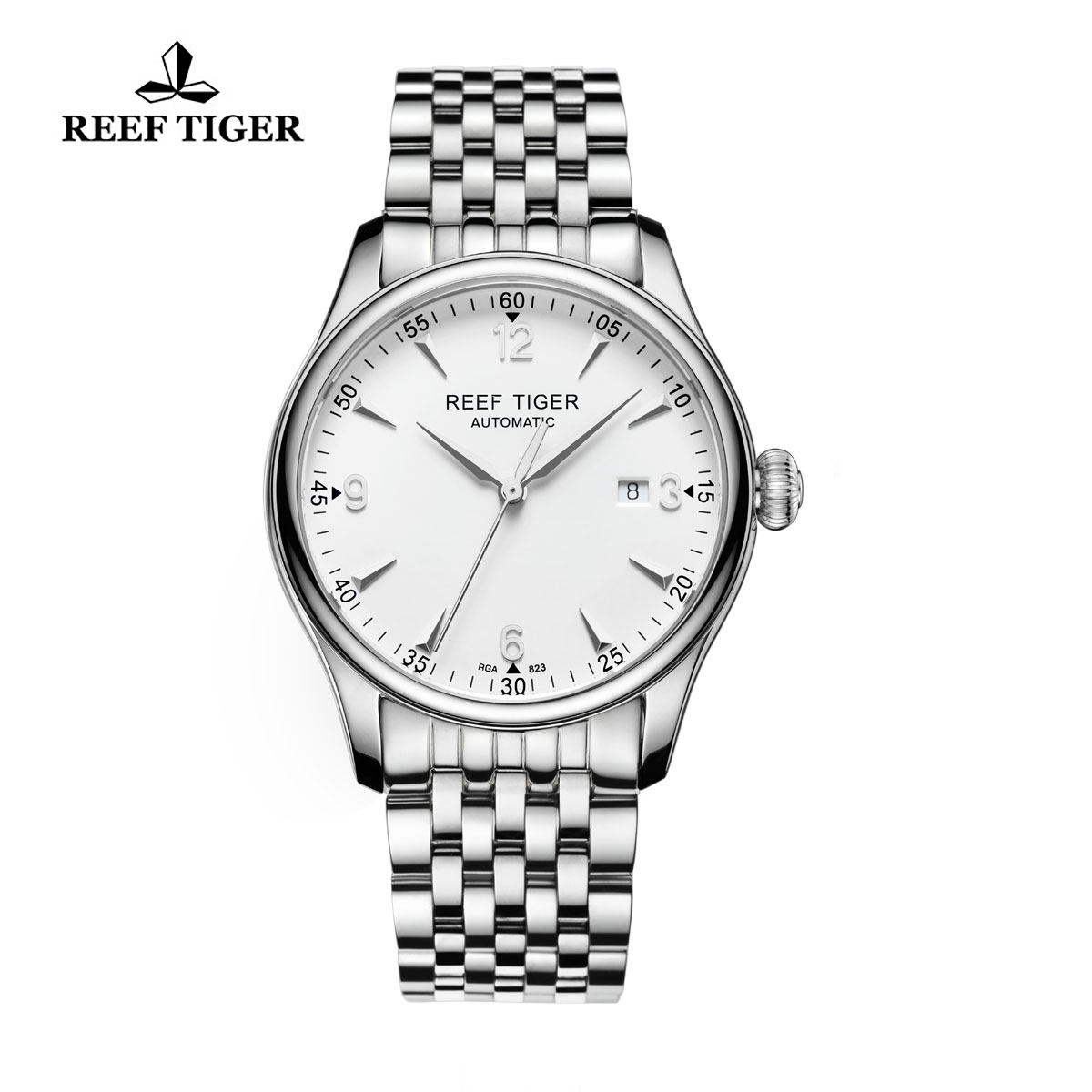 Reef Tiger Heritage Dress Automatic Watch White Dial Stainless Steel Case RGA823-YWY