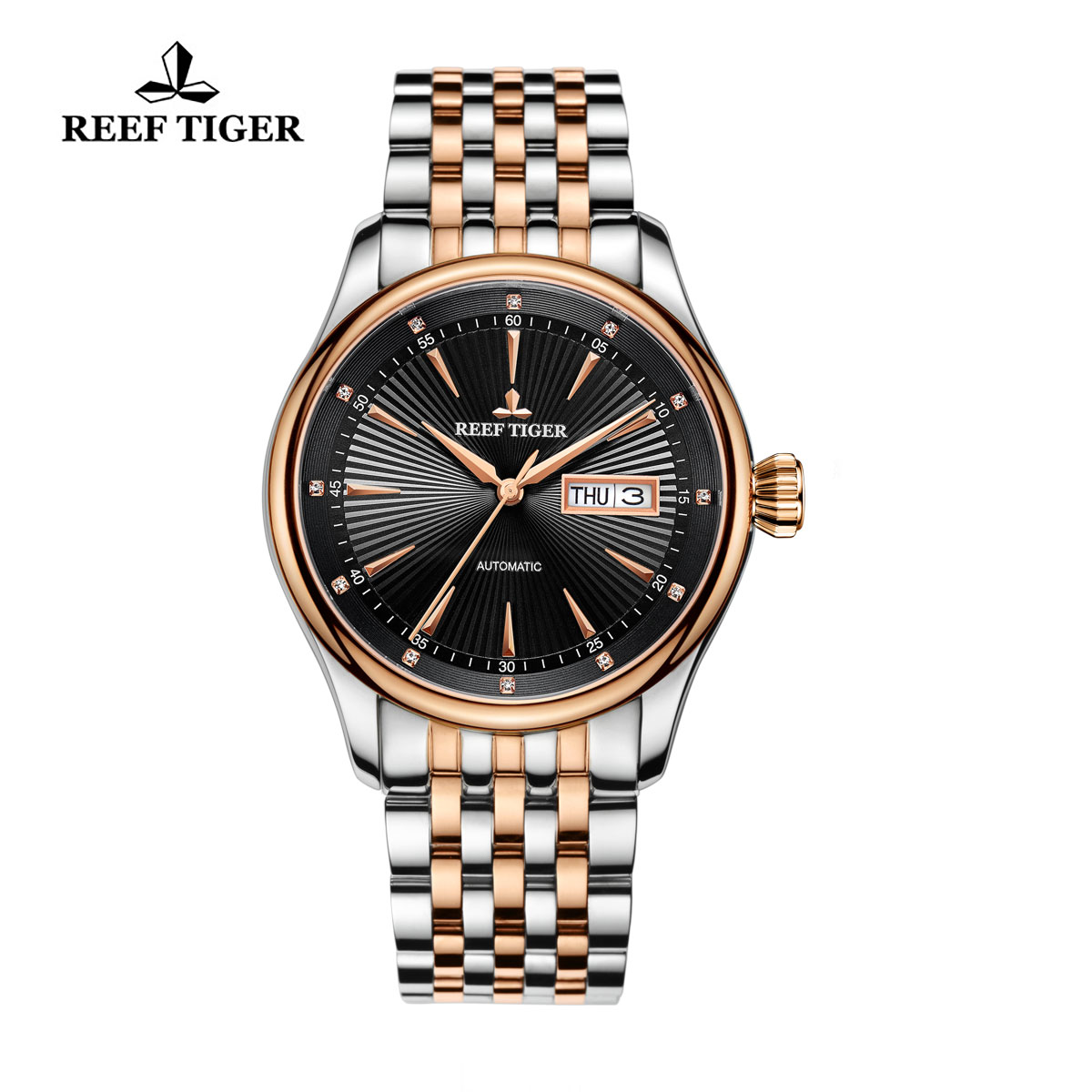 Reef Tiger Heritage II Dress Watch Automatic Black Dial Two Tone Case RGA8232-PBT