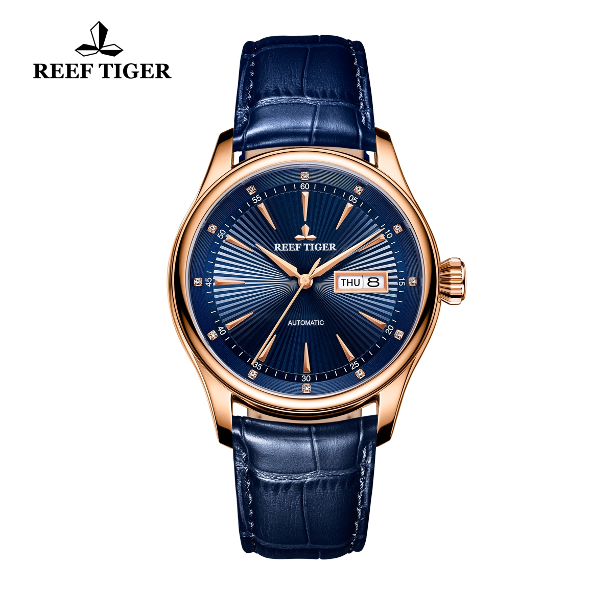 Reef Tiger Heritage II Dress Watch Automatic Blue Dial Calfskin Leather Rose Gold Case RGA8232-PLL