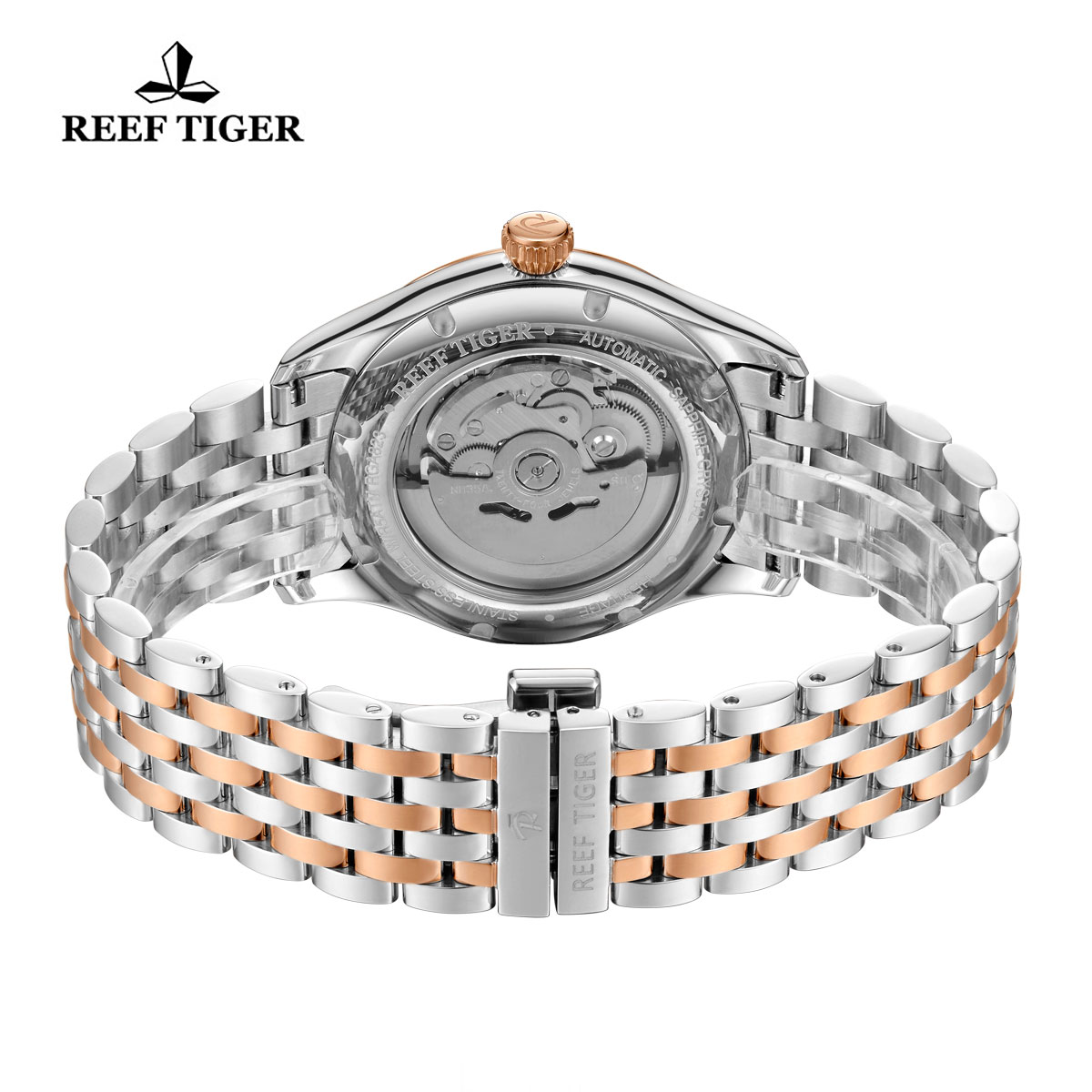 Reef Tiger Heritage II Dress Watch Automatic Blue Dial Two Tone Case RGA8232-PLT