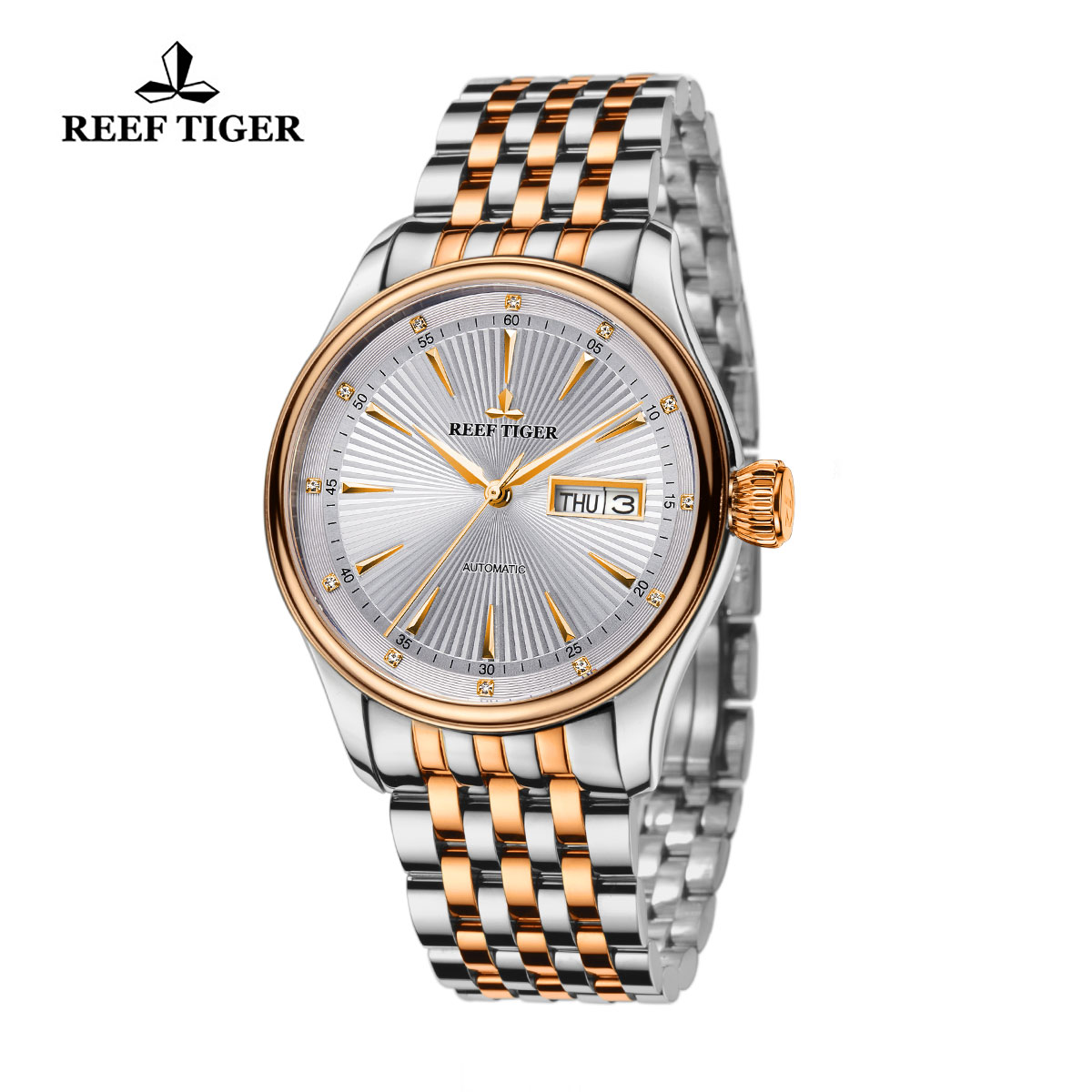 Reef Tiger Heritage II Dress Watch Automatic White Dial Two Tone Case RGA8232-PWT