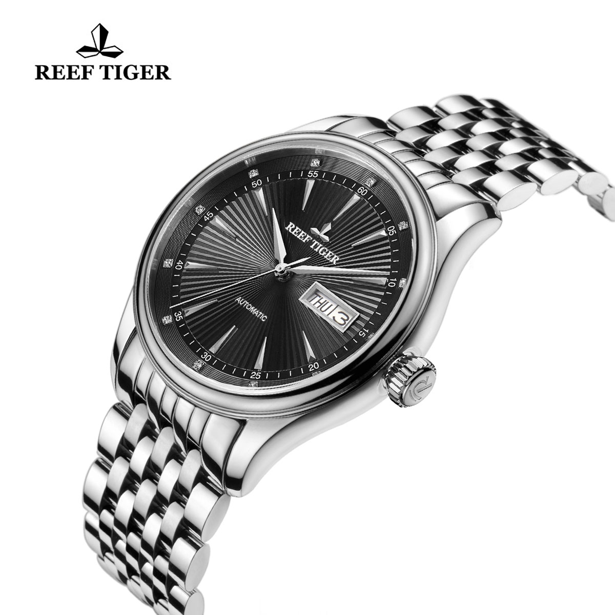Reef Tiger Heritage II Dress Watch Automatic Black Dial Steel Case RGA8232-YBY