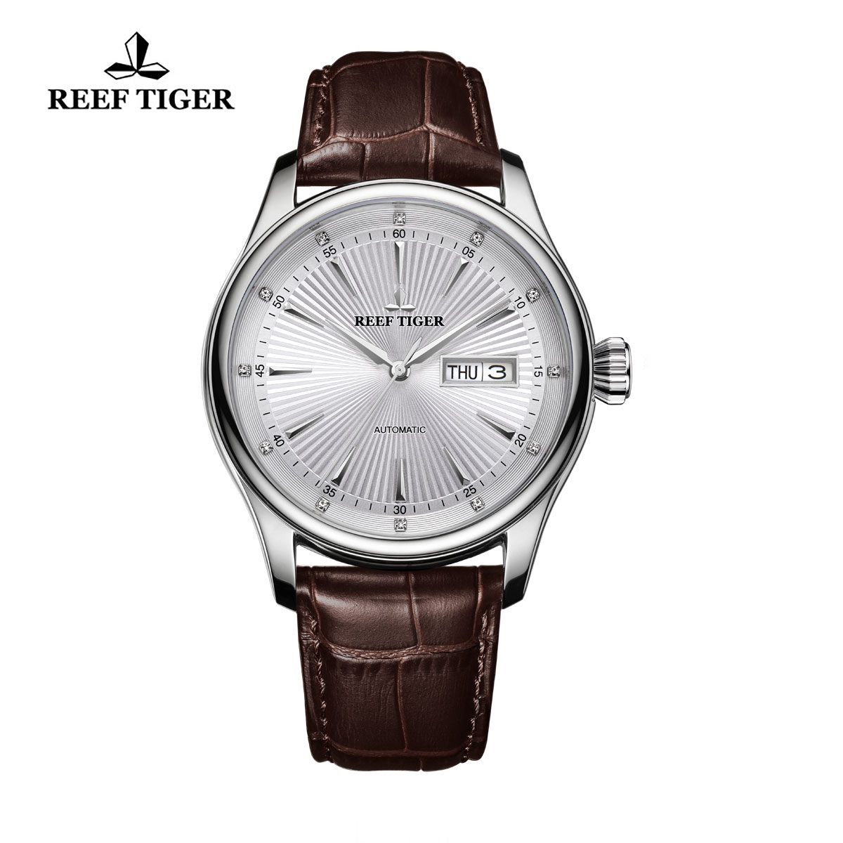 Reef Tiger Heritage II Dress Watch Automatic White Dial Calfskin Leather Steel Case RGA8232-YWB