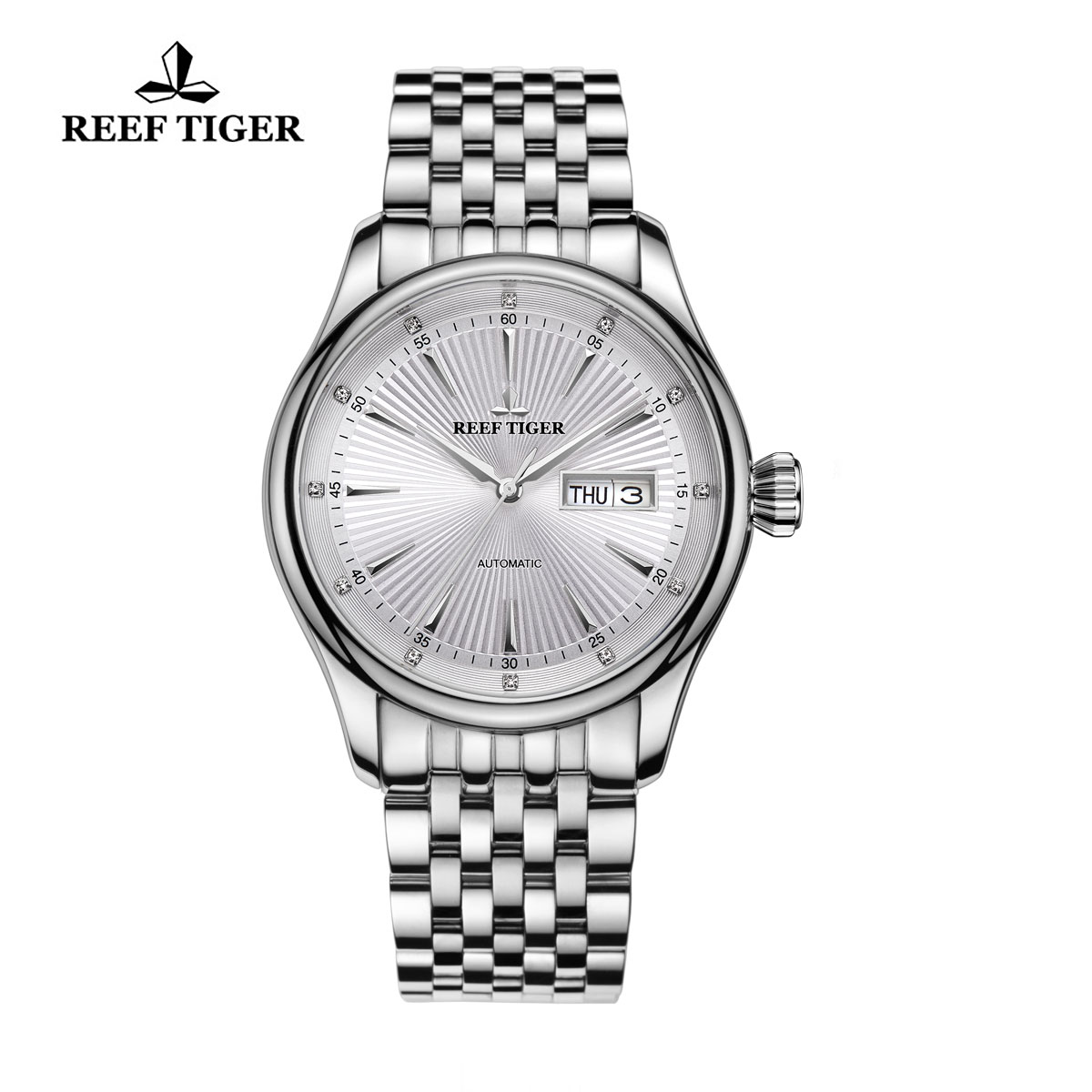 Reef Tiger Heritage II Dress Watch Automatic White Dial Steel Case RGA8232-YWY