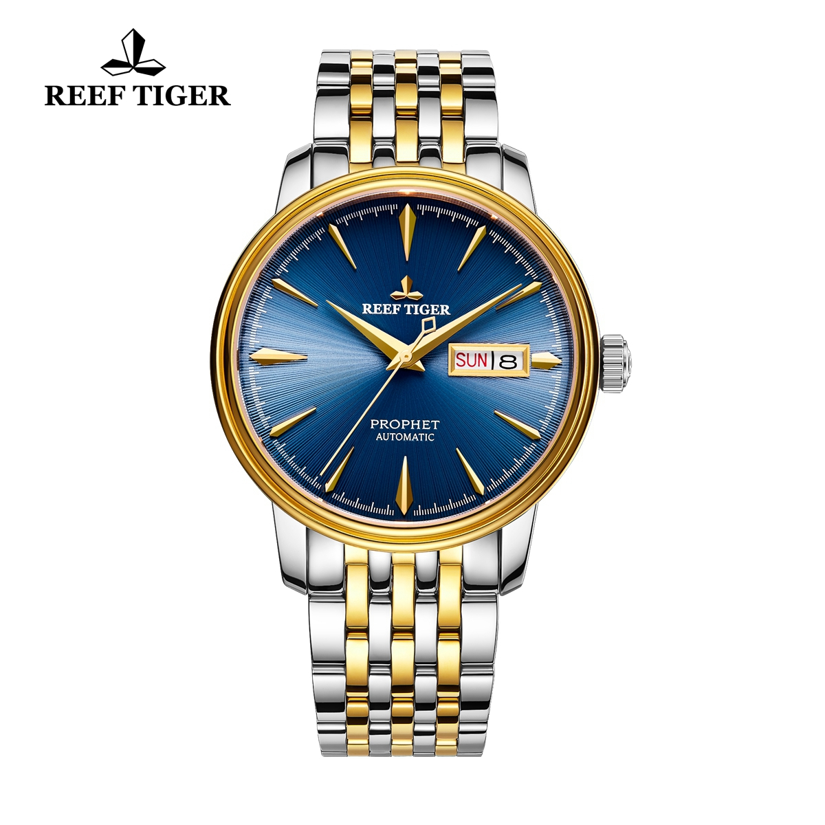 Reef Tiger Prophet Business Watch Automatic Yellow Gold/Steel Blue Dial RGA8236-GLT