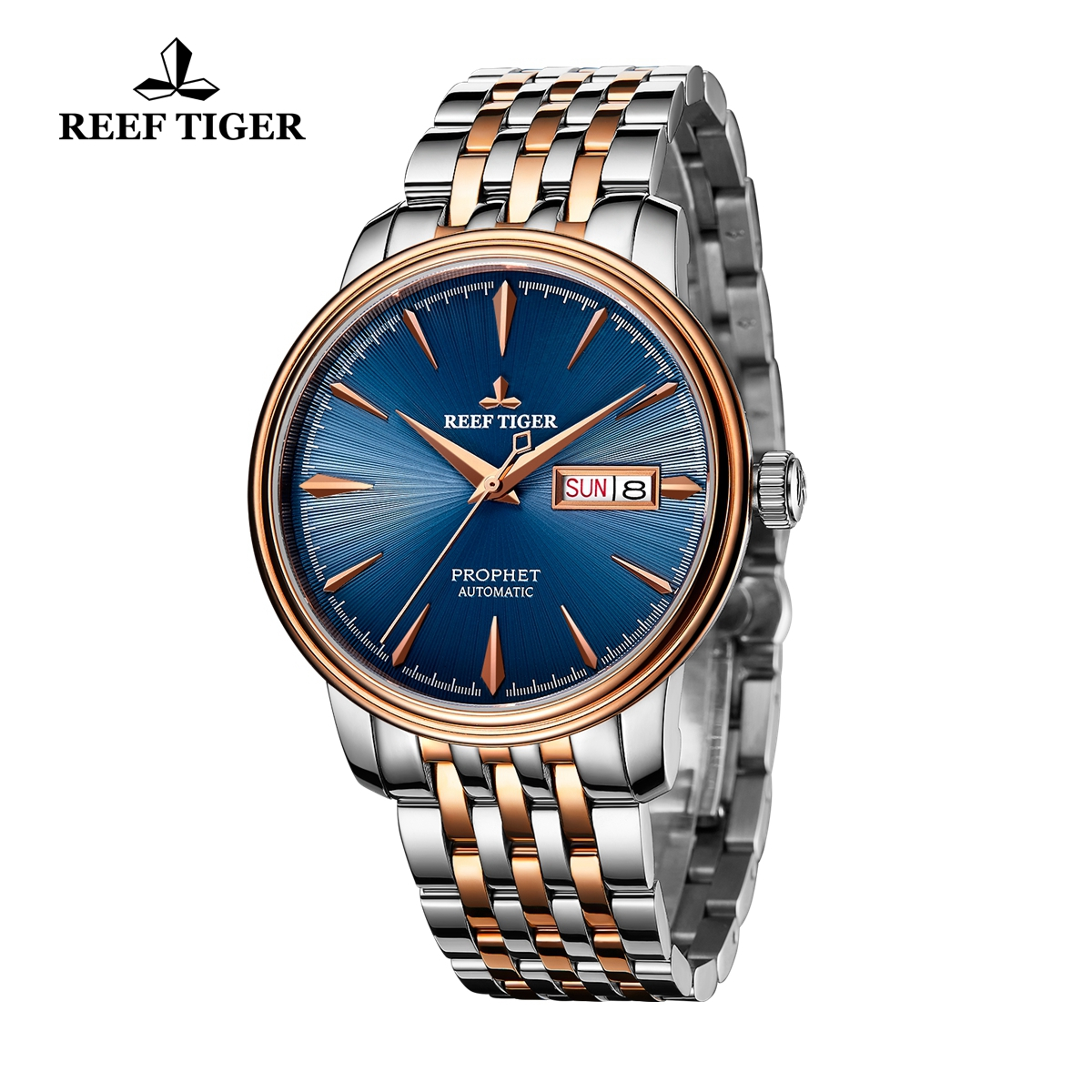 Reef Tiger Prophet Luxury Business Rose Gold/Steel Blue Dial Automatic Watch RGA8236-PLT