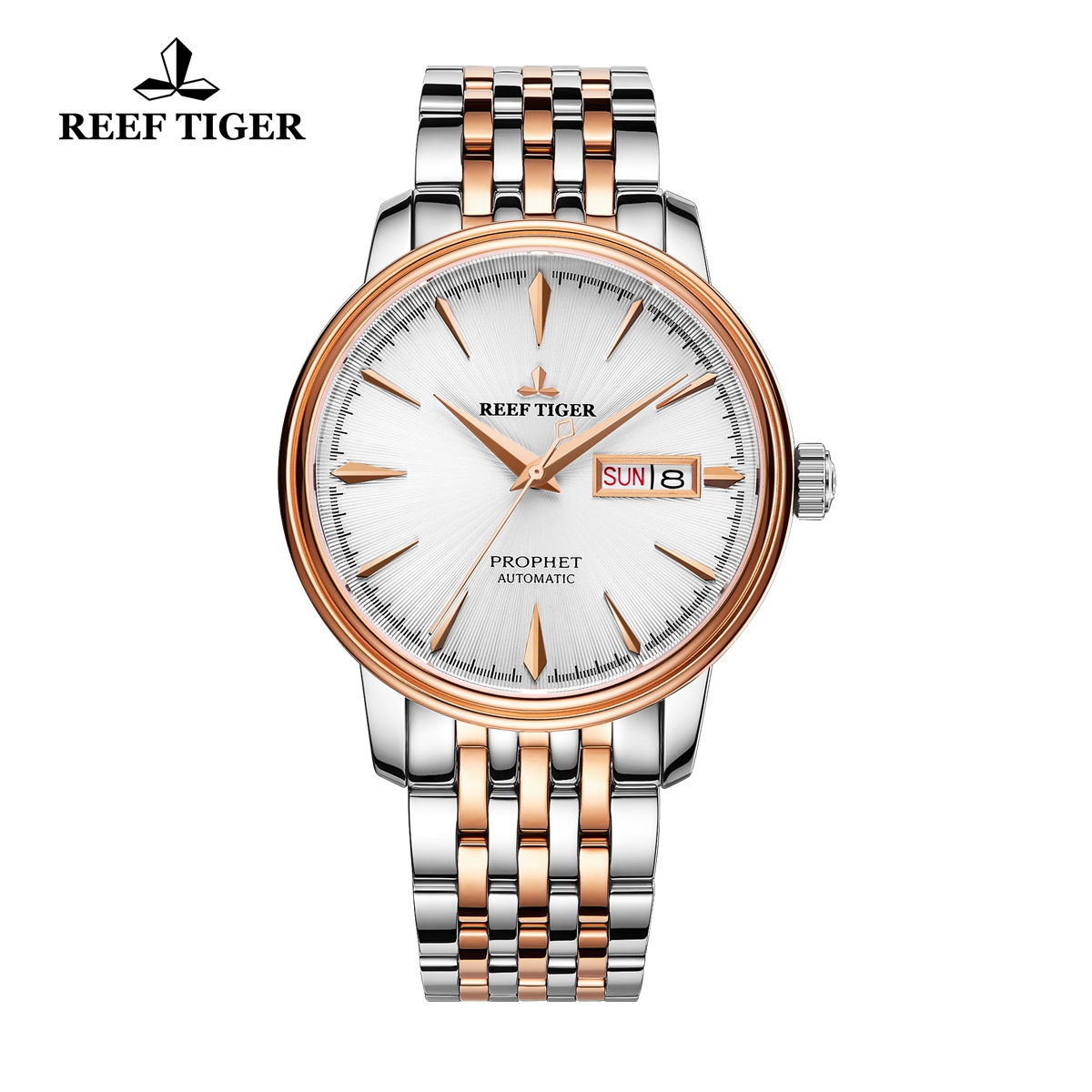 Reef Tiger Prophet Men's Luxury Automatic Business Rose Gold/Steel White Dial Watch RGA8236-PWT